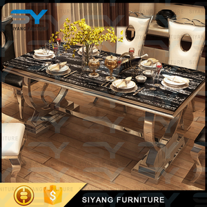 Stainless steel furniture dining table set restaurant tables chairs custom granite dining tables CT002