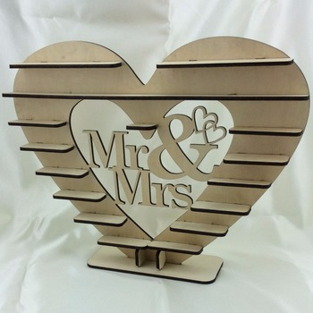 new heart shape wooden chocolate display stand