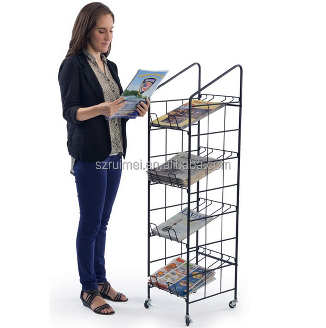Multi-pocket Carriable Upright Magazine Holder With Wheels