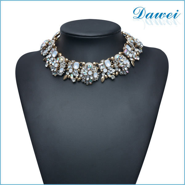 2014 yiwu crystal rhinestone gold women choker statement necklace