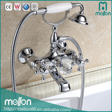 Wall Mounted 2-Hole Telephone Style Shower Set Bathtub Faucet With Hand Shower