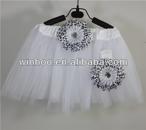 wholesale classical ballet baby tutu-white tutu with leopard flower