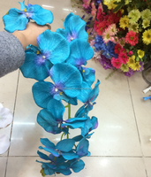 12 heads wholesale artificial blue orchids flowers artificial phalaenopsis orchids for sale