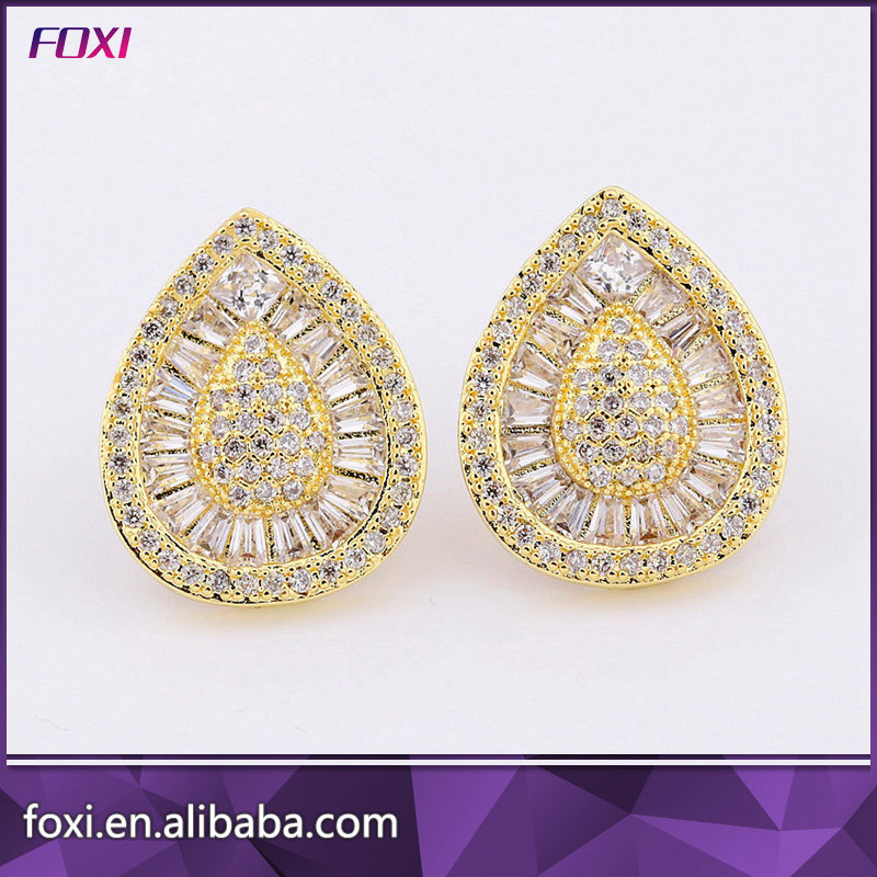 Pear shape micro pave stone gold plated earrings women stud