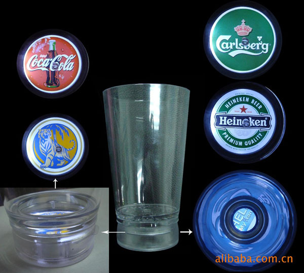 led flashing cup with projector,customer logo accept