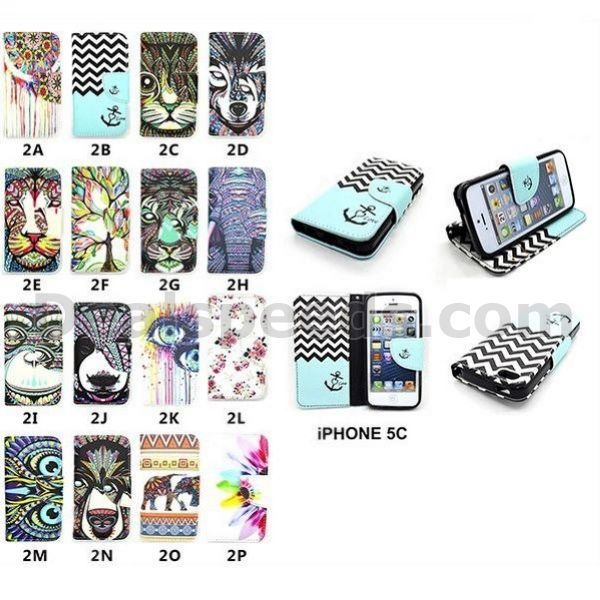 Wallet Design Pattern Flip Stand TPU+PU Leather Case for iPhone 5C case