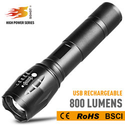 2018 Hot sale 800 Lumens rechargeable USB Flashlight