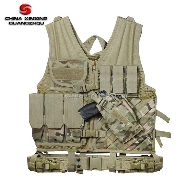 Police or Army Camouflage Tactical Vest with Pouches and Pistol Holster