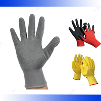Customized chemical resistant comfortable 13g polyester latex palm coated gloves