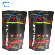 Custom logo printed black plastic bag Aluminum foil zip lock bag for supplement sport nutrition