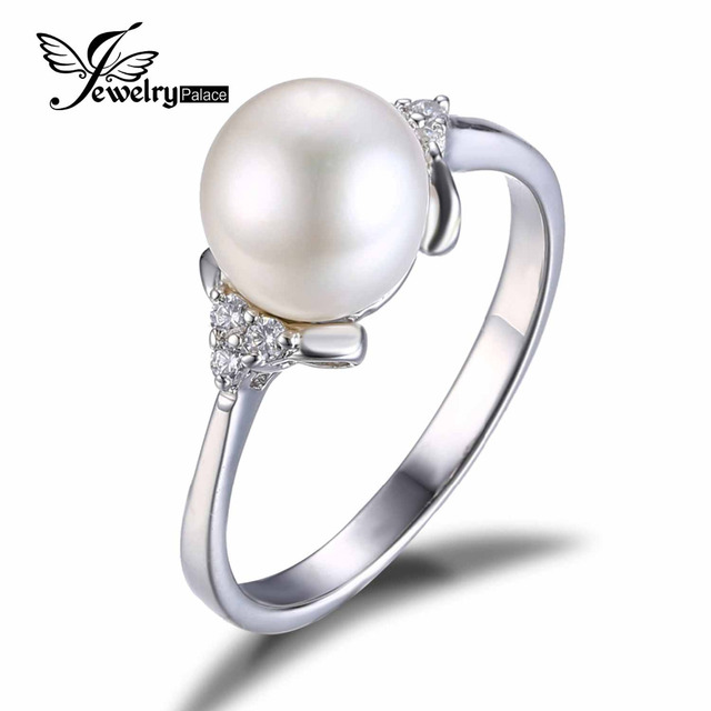 Classic Natural Freshwater Pearl Ring Anti-Tarnish Rhodium Plated on 925 Sterling Silver Jewelry For Women 2016 New High Quality