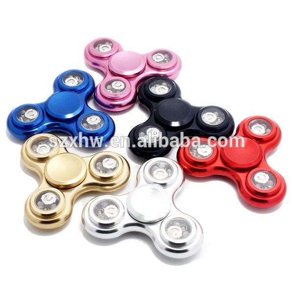 New metal aluminum alloy prerecorded patterns WORD flashing LED hand finger fidget spinner factory