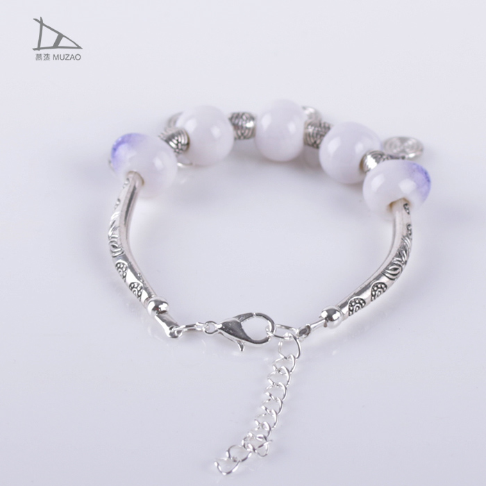 Factory direct sales national wind fresh new ceramic jewelry ice crack Bracelet with metal