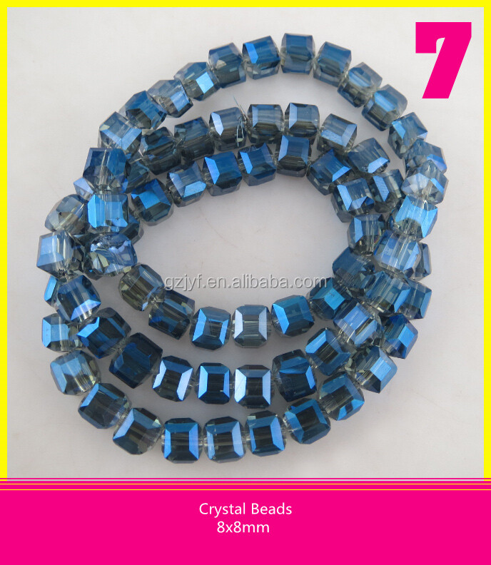 8*8 mm Crystal Faceted Strands Beads Square Shape Glass Beads In Bulk