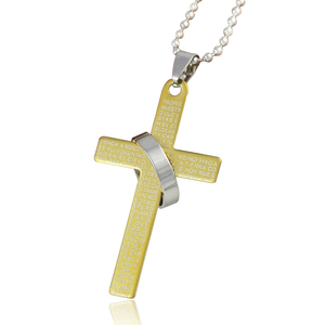 Stainless Steel Pendant Bible Cross Necklace With Ring