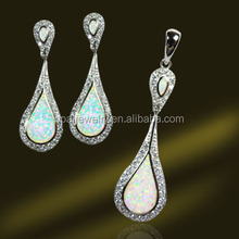 Tear Droped Inlay Opal 925 Sterling Silver Jewelry Set Micro Paved CZ, Women Jewelry Set