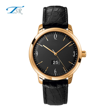 New black leather watch, quartz movement stainless steel watch, young people fashion watches