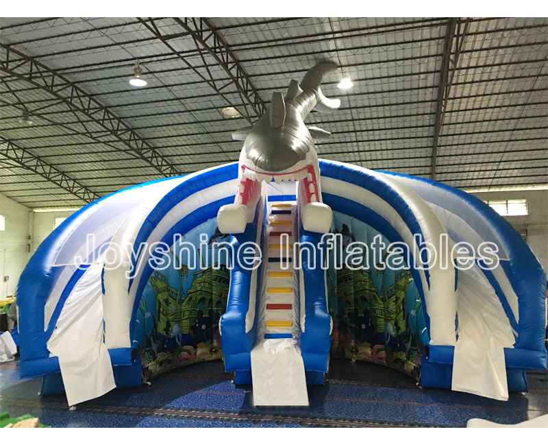 Custom Shark Water Slides Semi Arc Shape Waterslide Playground Giant Inflatable Shark Water Slide For Kids and Adult