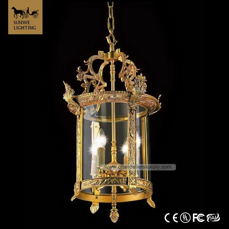 Luxury 25K Gold Red lantern 4 candle Pendant Lights antique brass copper Home stairs Round Bronze Glass Red Pendant Light