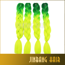 Green Yellow Ombre Two Tone Jumbo Braiding Synthetic Hair For Dreadlocks Crochet Box Braids