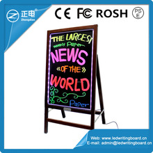 Wooden frame led menu board wooden fluorescence board stand led blackboard