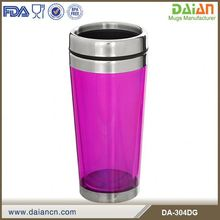 Transparent Double Wall Plastic Travel Mug