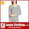 Custom promotional black and white striped collar tshirt design for women
