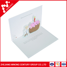 New arrival latest design customed birthday cake 3d pop up greeting card