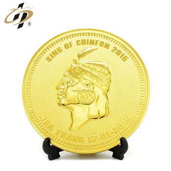 3D Portrait gold metal round country souvenir plate with favorable price