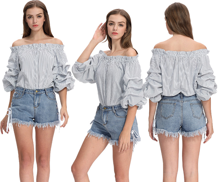Wholesale Half Sleeve Ruffled Ladies Fancy Tops Pleated Ballon Sleeve Woman Blouses Custom Women Sexy Casual Off Shoulder Blouse