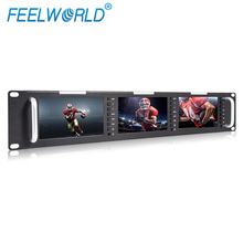 "3x 5"" inch dual screen rackmount HDMI and composite LCD monitor with 3G-SDI,HDMI AV input and output T51"