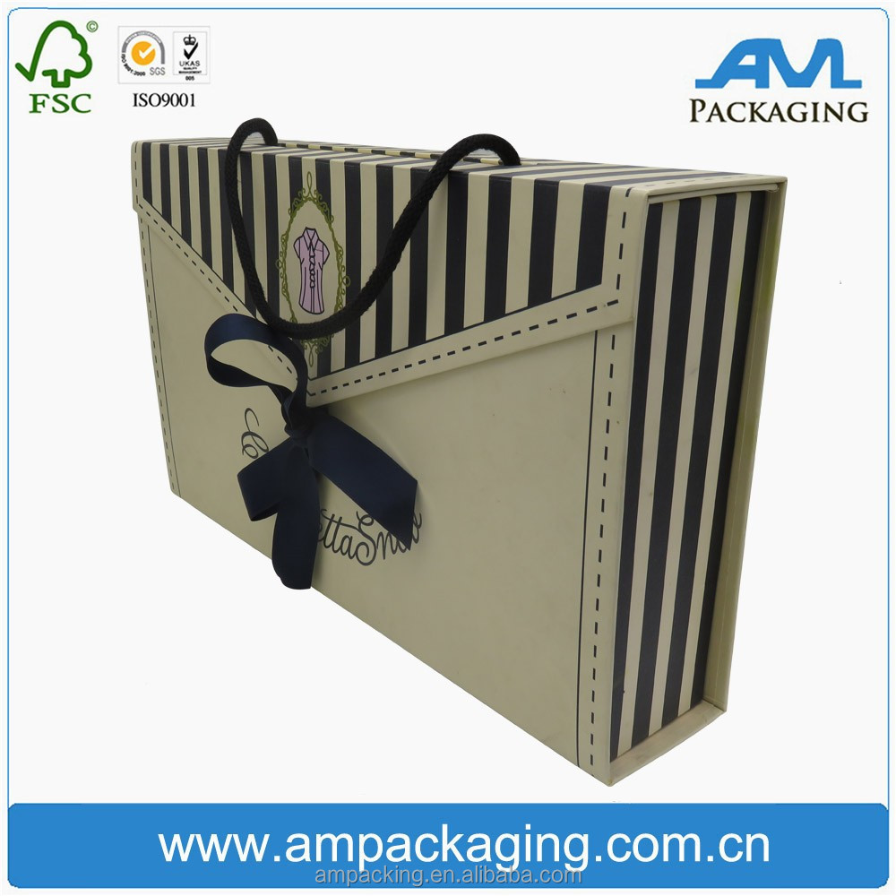 T-shirt skirt printing custom apparel gift packaging box folded gift box with ribbon