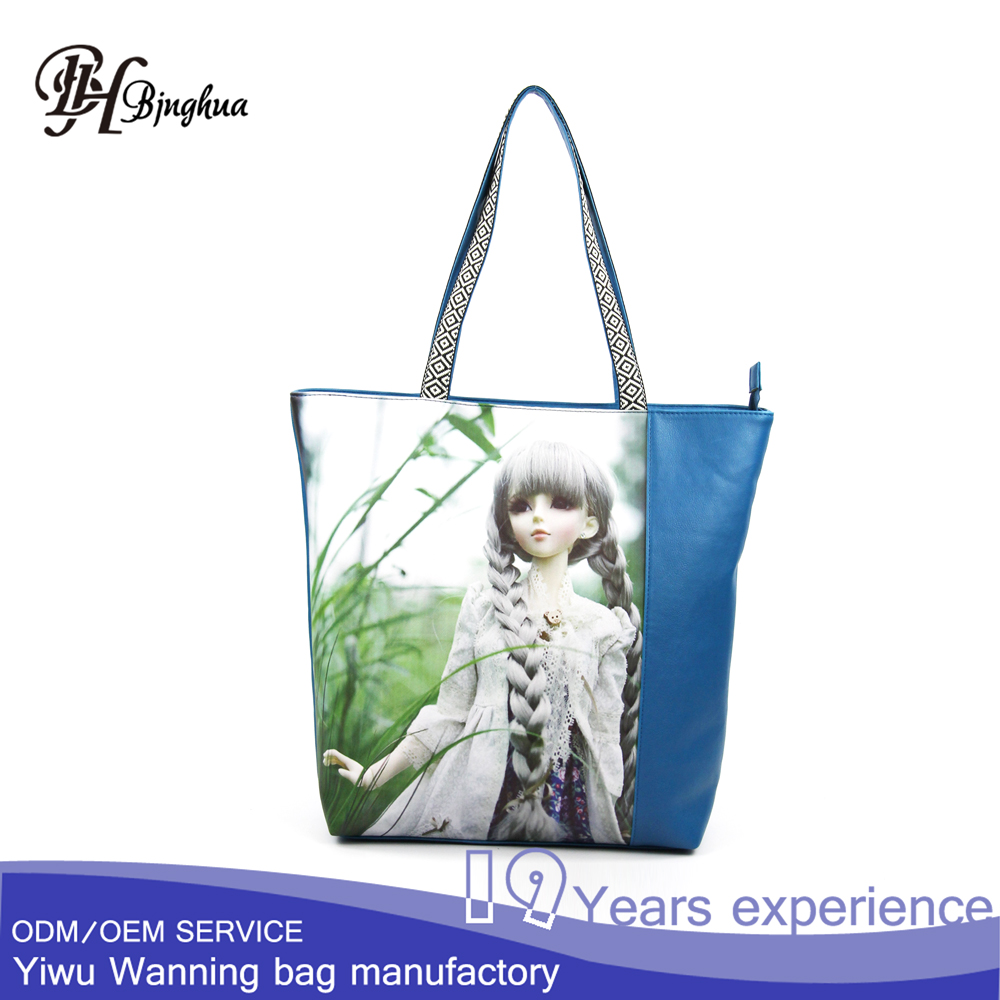 B-3324-3 Hot sale canvas custom beach bag embroidery handle leisure women handbag tote bags picture print