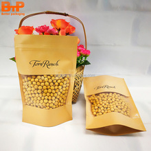 kraft paper bag with clear window for coffee food packaging