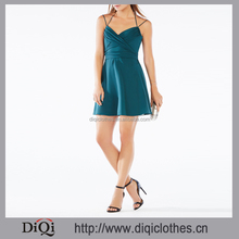 Wholesale High Fashion Apparel Designs Halter Neck Open Back Tied Back Bowknot Mini Sexy Silk Female Dress