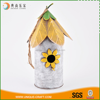 Promotional flower hanging pet carriers wooden bird house for garden