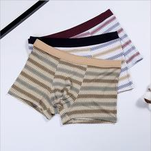 Wholesale Simple Design Comfortable Breathable Cotton Boxer Briefs Underwear Men With Stripe