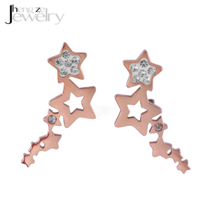 2018 Trend Crystal Multi Star Small Rose Gold Stud Earrings
