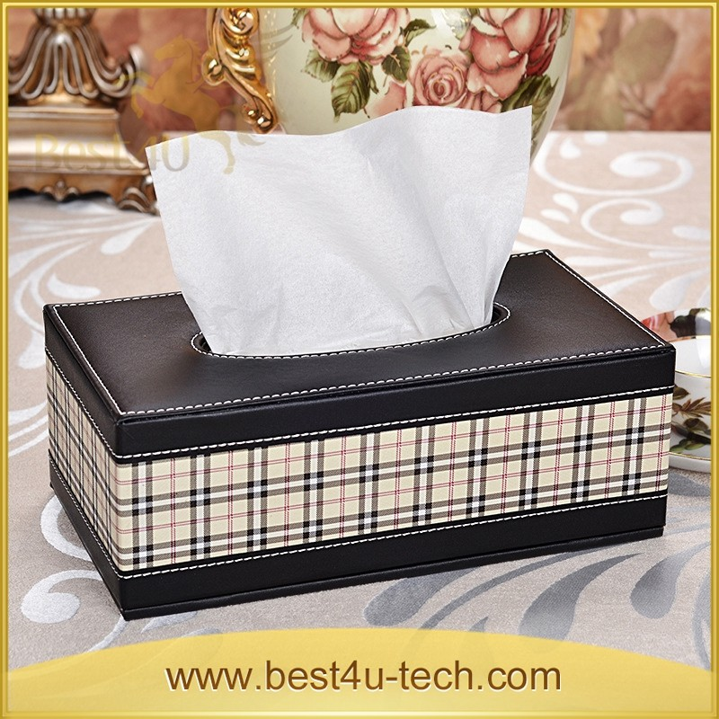 Wholesale High Quality PU Leather Grid Printed Container Tissue Box