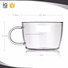 400 ml Clear Glass Tea Cup, Glass Coffee Cups with Handle