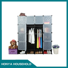 High quality DIY plastic clothes cabinet with shoe storage
