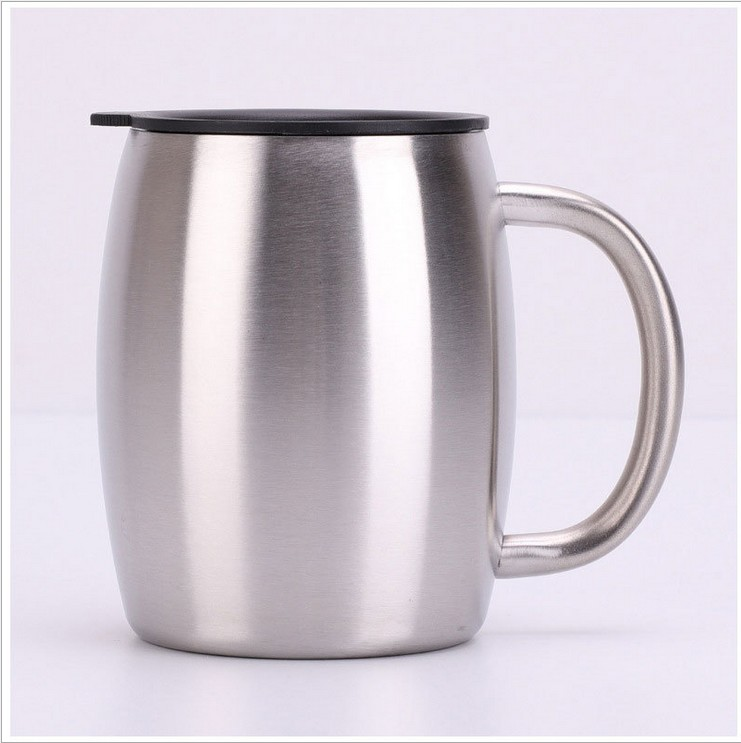 14OZ double wall stainless steel coffee tumbler cup with Handgrip coffee mug with slide lid