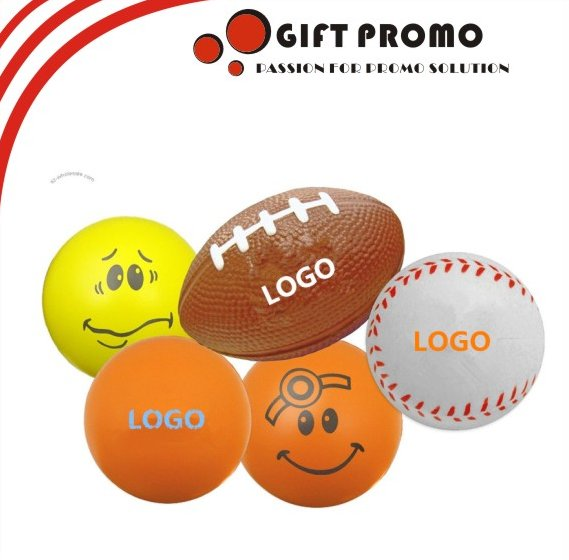 Promotional Printed Smiley Face PU Foam Stress Ball