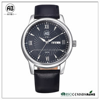 new design simple face man qartz black genuine leather strap wrist watch