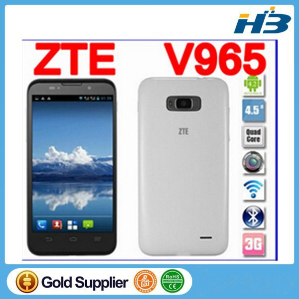 "wholesale ZTE V965 MTK6589 1.2GHz Quad Core Android 4.1 OS Monile Phone 512MB RAM 4GB ROM 4.5"" IPS 850*480 5.0MP Camera"