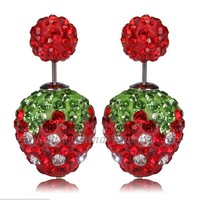 Red Strawberry Double Crystal Beads Earrings 12mm Rhinestone Shamballa Earring