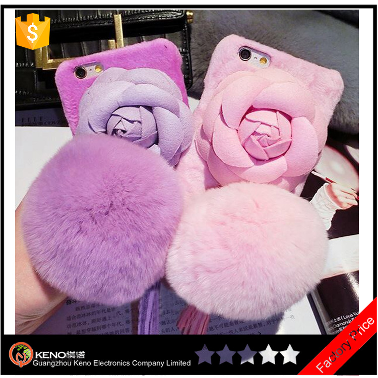 2017 new product Trendy Fashion Fancy Handmade Rose fur real Flower cell phone case for iphone 7