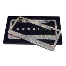 Luxury DIY Bling Bling Crystal Rhinestone Diamond Metal Stainless Steel Universal European USA Car License Plate Frame Custom