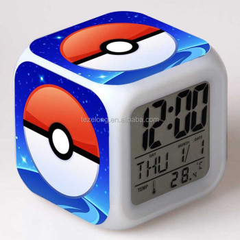 wholesale pockmon go digital alarm clock with colorful changing night light desk top flash clock for children can do customize