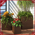 Wholesales PE rattan plastic planter box for flowers and plants